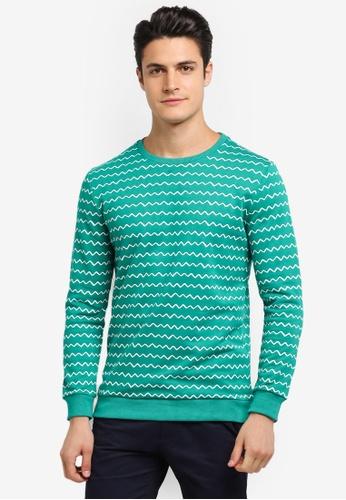 JAXON green Zig Zag Stripe Sweatshirt 9C3B6AAA02A7D8GS_1