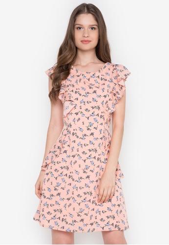 Krizia orange Floral Printed Ruffle Dress KR568AA0K2BBPH_1
