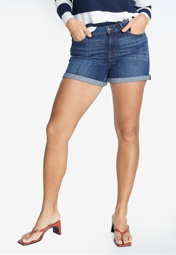 Violeta by MANGO blue Plus Size Ripped-Detail Denim Shorts 5BE8BAA237D500GS_1