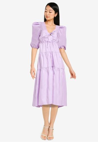 Urban Revivo 紫色 Oversized Shoulder V領洋裝 B1CF0AA6665E50GS_1