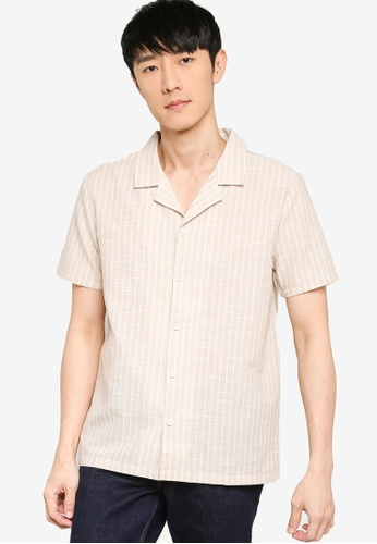 ZALORA BASICS multi Camp Collar Stripe Shirt D7775AAEE6632AGS_1