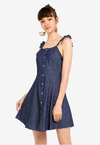 Something Borrowed 藍色 荷葉飾Strap 鈕釦洋裝 B4BFBAA357F81EGS_1