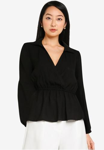 ZALORA BASICS black Puff Sleeve Top 28E0AAA3901A8BGS_1