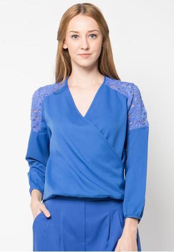 Raspberry blue Tori Lace Blouse RA572AA60PTJID_1
