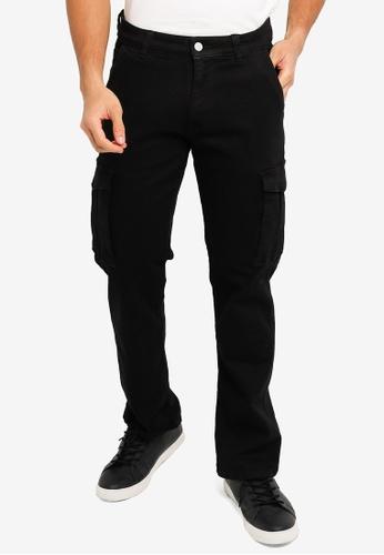 Electro Denim Lab black Straight Stretch Cargo Jeans ECFB0AAC53E7F8GS_1