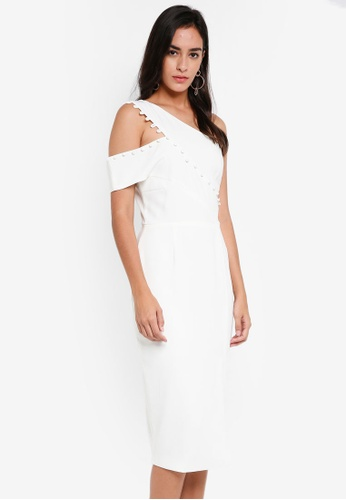 68218974755f Lavish Alice white Button Detail One Shoulder Midi Dress LA457AA0SSQPMY 1