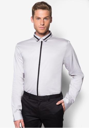 撞色開esprit hk分店襟長袖襯衫, 服飾, 襯衫