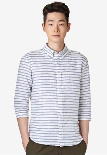 亞麻條紋七分袖襯衫, 服飾, 襯esprit香港門市衫