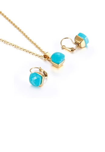 Glamorousky blue Fashion and Simple Plated Gold Geometric Square 316L Stainless Steel Necklace and Earrings Set with Blue Cubic Zirconia 74685ACEC51BD2GS_1
