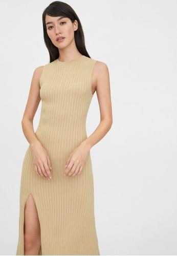 Pomelo beige Midi Side Slit Dress - Beige 68FF7AA881B571GS_1