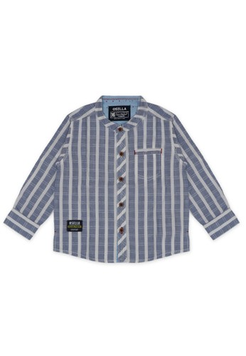 Osella Kids blue Osella Baju Anak Laki-Laki Kemeja Lengan Panjang Stripe Blue 33009KA5570F09GS_1