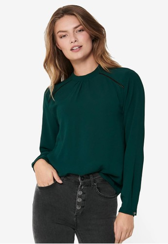 ONLY green New Mallory Long Sleeve Blouse Solid EB12DAAF9E7E77GS_1