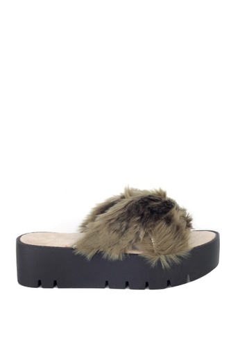 London Rag brown London Rag Women's Summer Khaki Faux Fur Slipper SH1389 LO704SH31OXKHK_1