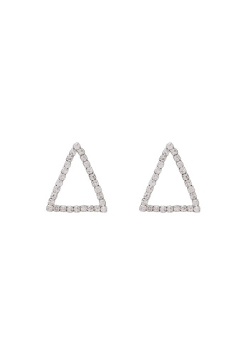 Red's Revenge white Triangle Diamante Stud Earrings RE144AC0S0UHMY_1