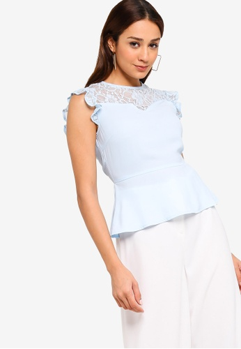ZALORA blue Lace Panels Top 34542AA6F0F0E8GS_1