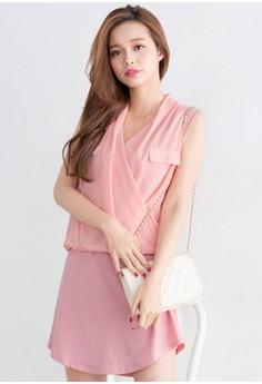 Sweet Dreams Surplice Chiffon Dress