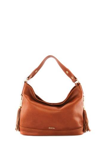 SEMBONIA brown SEMBONIA Genuine Leather Hobo Bag SE598AC96JVFMY_1