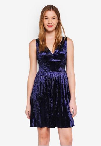 Guess blue Yvonne V-Neck Velvet Mini Dress C4A31AA6F58BC7GS_1