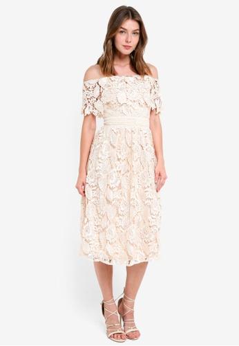 Little Mistress beige Crochet Midi Dress 3F6F7AAE8458ADGS_1