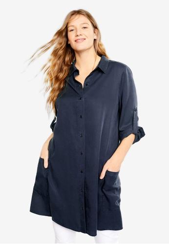 dc9211eb980bbd Shop Violeta by MANGO Plus Size Flowy Long Shirt Online on ZALORA  Philippines