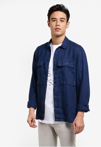 MANGO Man blue and navy Regular-Fit Linen Shirt MA449AA35EDKMY_1