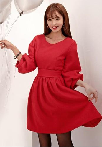 Merry 紅色泡泡連衣裙,esprit 高雄 服飾, 派對洋裝