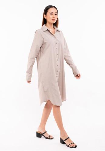ONYCHA beige Nikita Shirt Dress in Cream 028AFAA73886F2GS_1