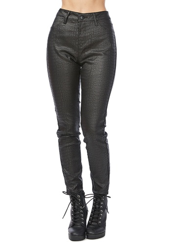 London Rag black Black Slither-in Textured Slim Fit Pants E96A7AA4E0185CGS_1