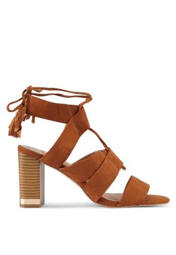 River Island brown Tie Up Block Heel Sandals 03FC5SH8F7AA2BGS_1