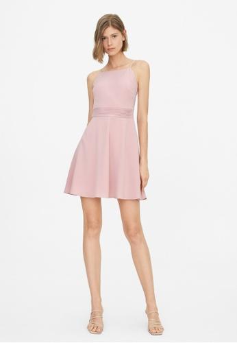 Pomelo pink Halter Neck A Line Dress - Pink D562AAAC519743GS_1