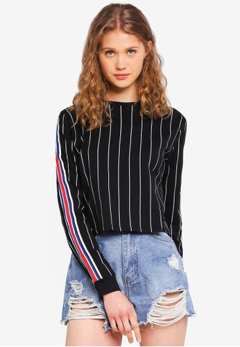 Factorie black and multi 90s Crop Long Sleeve Cuffed Top 079FCAA96CA7E7GS_1