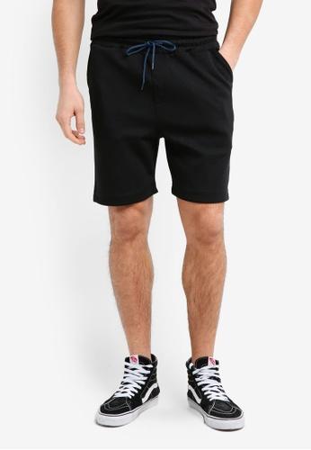 UniqTee black Cotton Bermuda Shorts With Textured Stripe 053C8AAC0FFEF7GS_1
