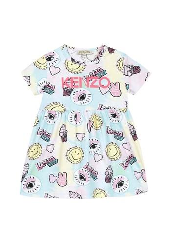 KENZO KIDS pink and yellow and blue and multi KENZO BABY GIRLS DRESS DC829KA1DD83FDGS_1