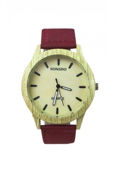 Sonsdo Wood Texture Design Leather Watch