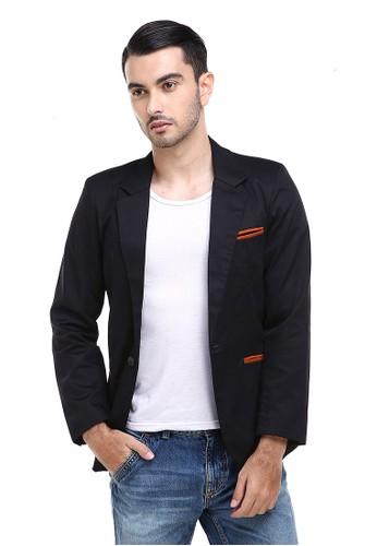 Hamlin black Hamlin Woreq Jas Blazer Outerwear Pria Formal Resmi Man Suits Motif Garis Material Drill ORIGINAL 741E9AA9915EAAGS_1