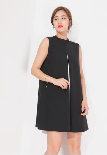 Zafiti black Fake Two Piece Round Neckline Sleeveless Dress 866BFAA5349F24GS_1