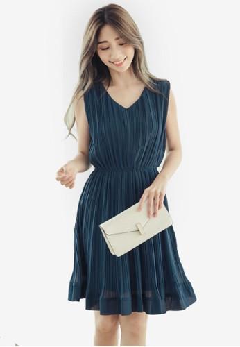 Eyescream blue and grey Pleated Dress 00DF3AAC18D3C9GS_1