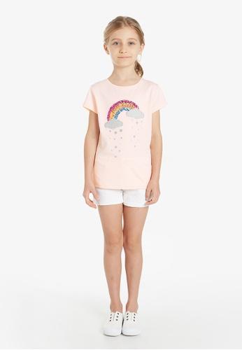 Gen Woo pink Sequin Rainbow T-Shirt By Gen Woo A2EE3KA1ACC0D8GS_1