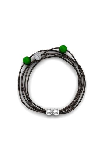 Her Jewellery green Swarovski® Crystals - Leather Bracelet (Green) (18K White Gold Plated) Her Jewellery HE581AC0RDHJMY_1