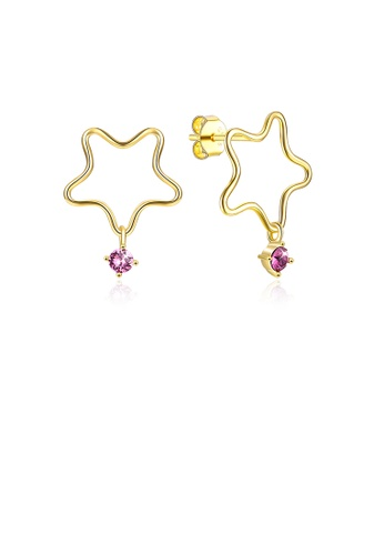 Glamorousky white 925 Sterling Silver Gold Plated Fashion Simple Star Earrings and Ear Studs with Purple Austrian Element Crystal 0E12FAC65D0D55GS_1