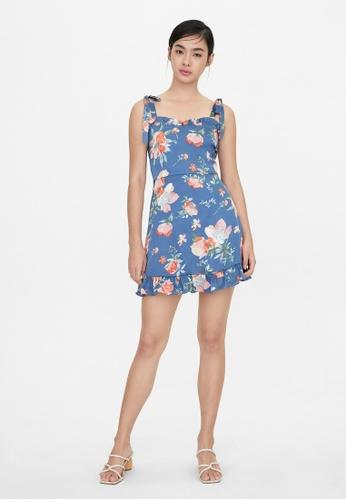 Pomelo blue Tie Shoulder Ruffle Hem Floral Dress - Blue 55DBFAA4731E46GS_1
