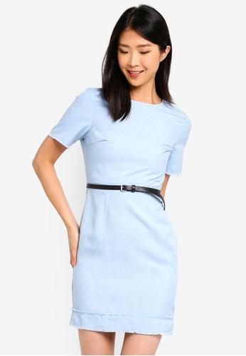 ZALORA BASICS blue Basic Textured Look Shift Dress With Belt 51184AA494F3A9GS_1