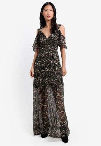 French Connection black Hallie Crinkle Cold Shoulder Maxi Dress FR878AA0S3OFMY_1