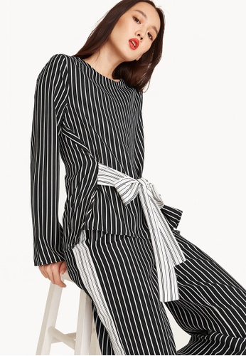 b97b2d000dd05 Pomelo black and white and multi Riel Striped Tie Blouse 14F8CAAA409B6DGS 1