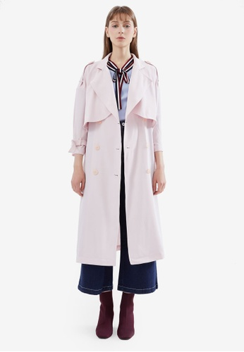 Hopeshow pink Belted Duster Coat 679D2AAC016933GS_1