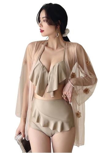 A-IN GIRLS beige (3PCS) Sexy Gauze Bikini Swimsuit 0ADF0US72509D1GS_1