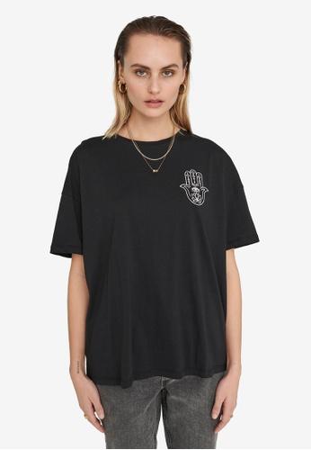 Noisy May black Ida Hand Embroidery T-Shirt 26EB2AA7614CE9GS_1