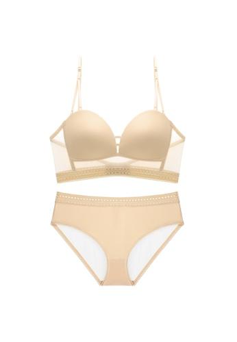 Glorify 米褐色 Premium Beige Lace Lingerie Set AAFD9US98EA42EGS_1