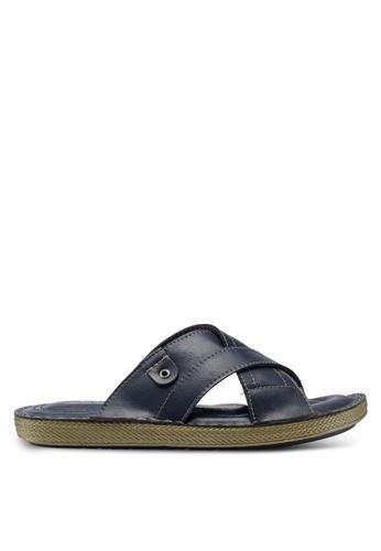 Carlton London blue Cross Strap Sandals B0562SH1BDBCEAGS_1