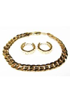 Gold Flat Chain Bracelet and Hoop Earrings Set